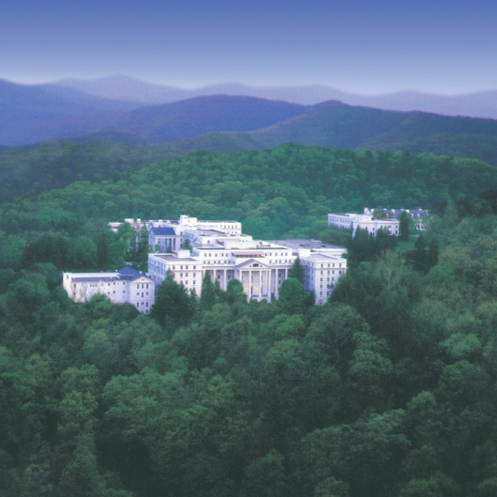 aerial view of Greenbrier hotel