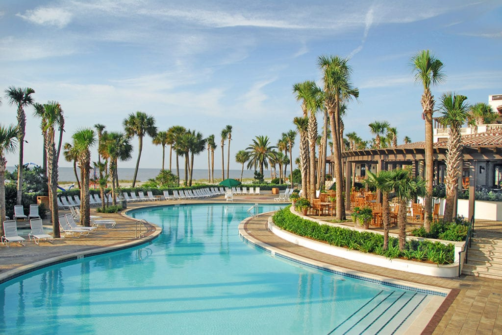 Beach club pool sea island resort