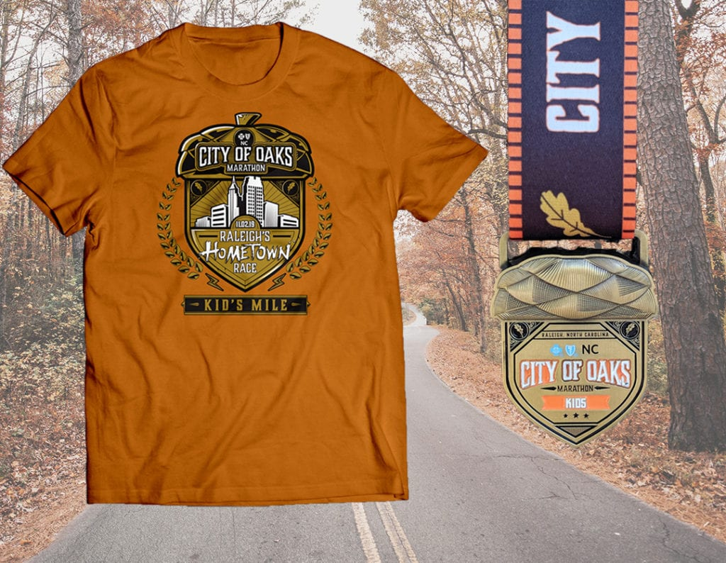City of Oaks Kids Mile Shirt and Finisher Medal