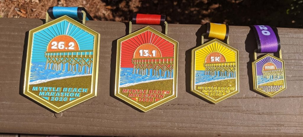 2020 Myrtle Beach Marathon Finisher Medals